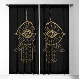 Hamsa Hand Gold on Black #1 #drawing #decor #art #society6 Blackout Curtain