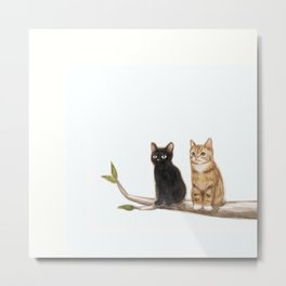 Two cats sitting on a tree branch Metal Print