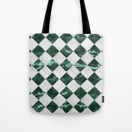 Cubic - Green & White Marble #741 Tote Bag