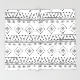 Gray Boho Aztec Throw Blanket