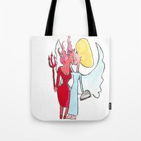 lesbian Tote Bags featuring Angel/devil lesbian kiss by Nehalennia