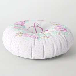 Monogram B - cute girls purple florals flower wreath, lilac florals, baby girl, baby blanket Floor Pillow