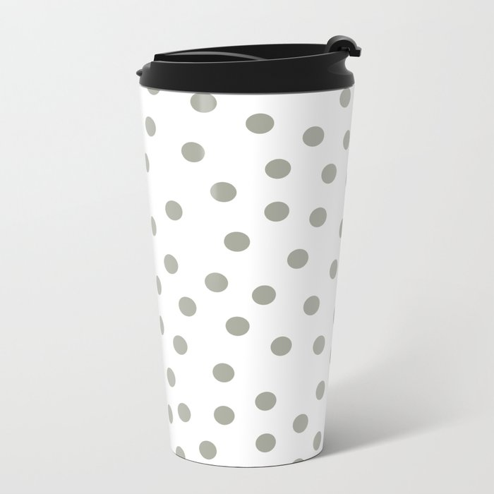 Simply Dots in Retro Gray on White Metal Travel Mug