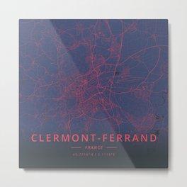 Clermont-Ferrand, France - Neon Metal Print