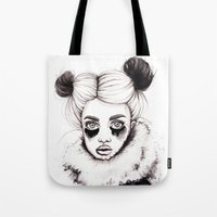 red panda Tote Bags featuring Panda by Nora Bisi