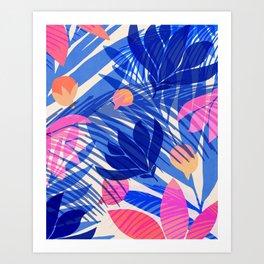 Breezy Tropics / Bright Abstract Floral Print Art Print