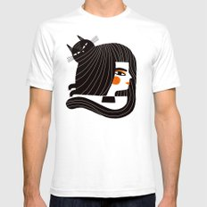 CAT HAIR White X-LARGE Mens Fitted Tee