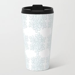 Crocheted Snowflake Ornaments - white on white with touch of teal Travel Mug