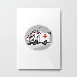 Ambulance Emergency Vehicle Driver Waving Cartoon Metal Print