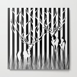 Forest Spirit Deers in Black and White Stripes  Metal Print