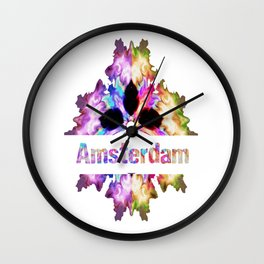 Amsterdam gift tie dye watercolor  Wall Clock