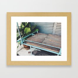 Turquoise and timber Framed Art Print