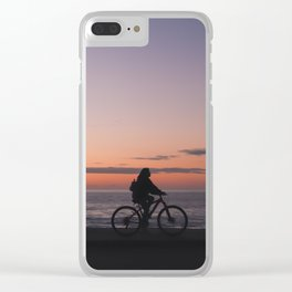 Girl on a bicycle Clear iPhone Case
