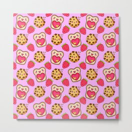 Cute funny sweet adorable happy Kawaii toast with raspberry jam and butter, chocolate chip cookies, red ripe summer strawberries cartoon fantasy pastel pink pattern design Metal Print