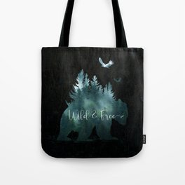 Wild and Free grizzly bear typography Tote Bag