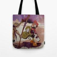 ninja turtle Tote Bags featuring ninja turtle and mario by joseph Leonard
