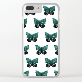 Butterfly Pattern #1 #green #black #decor #art #society6 Clear iPhone Case