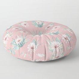 Echeveria Garden Roses Coral Rose Pink Floor Pillow