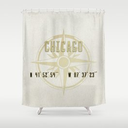 Chicago - Vintage Map and Location Shower Curtain