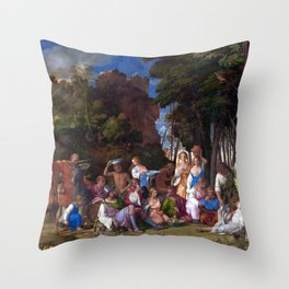 Giovanni Bellini Titian Feast of the Gods Throw Pillow