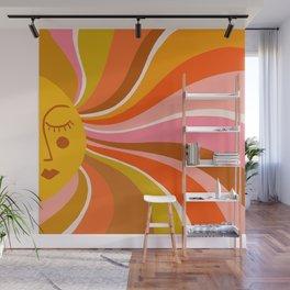 Sunshine Swirl – Retro Ochre Wall Mural