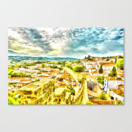 Obidos, small and authentic fortified town in Portugal Canvas Print