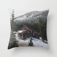 Snowy Cabin Throw Pillow