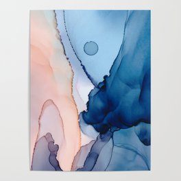 Saphire soft abstract watercolor fluid ink painting Poster