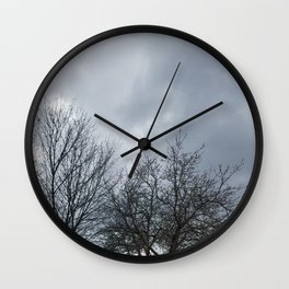 Winter Sky, Cloudy Winter Sky, Beautiful Clouds and Trees Wall Clock