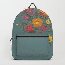 Folk flower arrangement - Spring blue Backpack