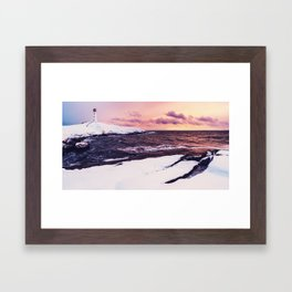 Fresh Snow at Peggy's Cove Lighthouse Framed Art Print