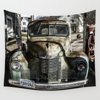 truck Wall Tapestries featuring Vintage pickup truck by Wood-n-Images