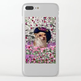 Chi Chi in Purple, Red, Pink, White Flowers, Chihuahua Puppy Dog Clear iPhone Case
