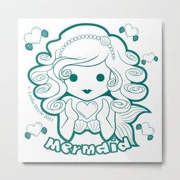Kawaii Kiddies Cute Mermaid Metal Print