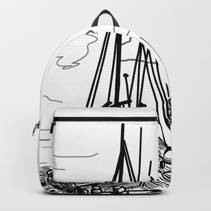 boats on the sea . artwork . https://society6.com/vickonskey/collection Backpack