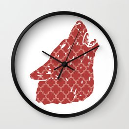 WOLF SILHOUETTE HEAD WITH PATTERN Wall Clock