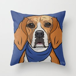 Icons of the Dog Park: Beagle Design in Bold Colors for Pet Lovers Throw Pillow
