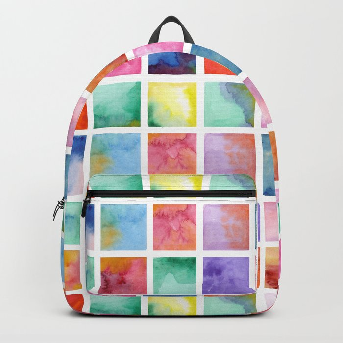 Watercolor . Squares. Geometric pattern . Backpack