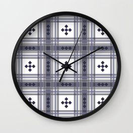 Preppy Plaid in Smokey Purple and Gray Wall Clock