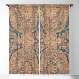Persian Motif I // 17th Century Ornate Rose Gold Silver Royal Blue Yellow Flowery Accent Rug Pattern Blackout Curtain