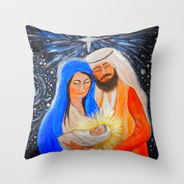 Nativity Christmas Star - Mary, Joseph and baby Jesus Throw Pillow