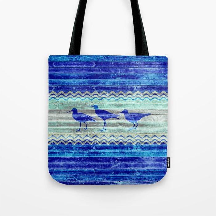 Rustic Navy Blue Coastal Decor Sandpipers Tote Bag