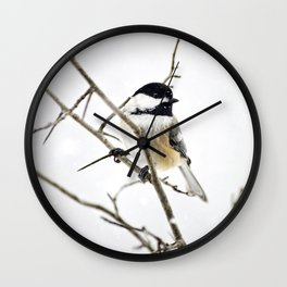 Snowy Chickadee Wall Clock