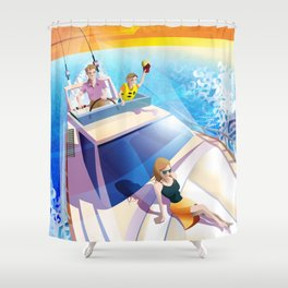 FAMILY ON YACHT Shower Curtain