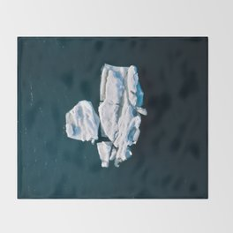 Lone, minimalist Iceberg from above - Landscape Photography Throw Blanket