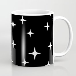 Mid Century Modern Star Pattern 443 Black and White Coffee Mug