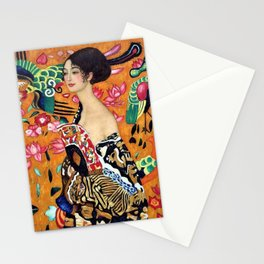 Lady with a fan with lotus flowers and red poppies portrait panting by Gustav Klimt Stationery Cards