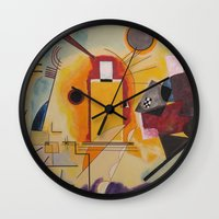 kandinsky Wall Clocks featuring Wassily Study Repro yellow red blue 1925  by Christine baessler