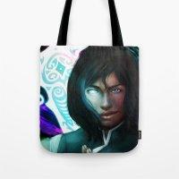 korra Tote Bags featuring Korra by Nicole M Ales