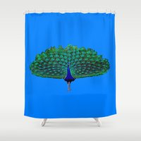 peacock Shower Curtains featuring Peacock by Crayle Vanest